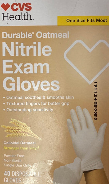 CVS Health, Oatmeal Nitrile Exam Gloves - 40 Gloves (One Size Fits Most)