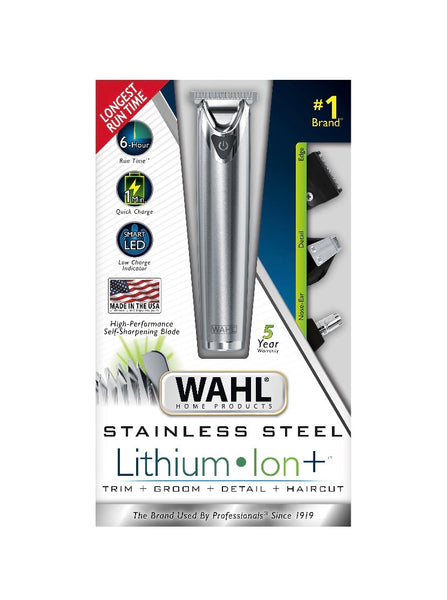 Wahl Stainless Steel Lithium Ion Men's Multi Purpose Beard, Facial Trimmer and Total Body Groomer (22 piece set) - 9818-5001