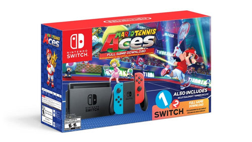 Nintendo Switch Console with Mario Tennis Aces Game and 1-2 Switch Game Bundle