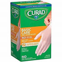 Curad, Basic Care Vinyl Exam Gloves - 50 Gloves (one size fits most)
