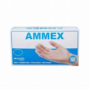AMMEX Clear Vinyl Exam Latex Free Disposable Gloves, 100 Gloves (SMALL)
