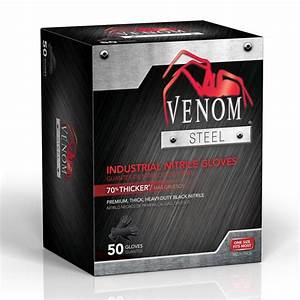 Venom Steel, Rip Resistant, Nitrile - 50 Gloves (One Size Fits Most)