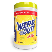Wipe Out! Antibacterial Wipes - Lemon Scent 80 Count