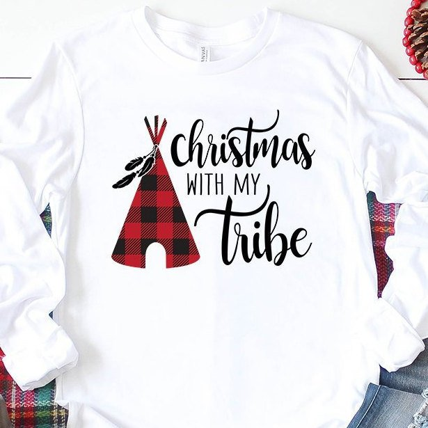 Matching Christmas Shirts For Family.Christmas With My Tribe Long Sleeve Shirt Buffalo Plaid Christmas Shirts Family Matching Shirts Christmas Pajamas Bella Canvas Shirt