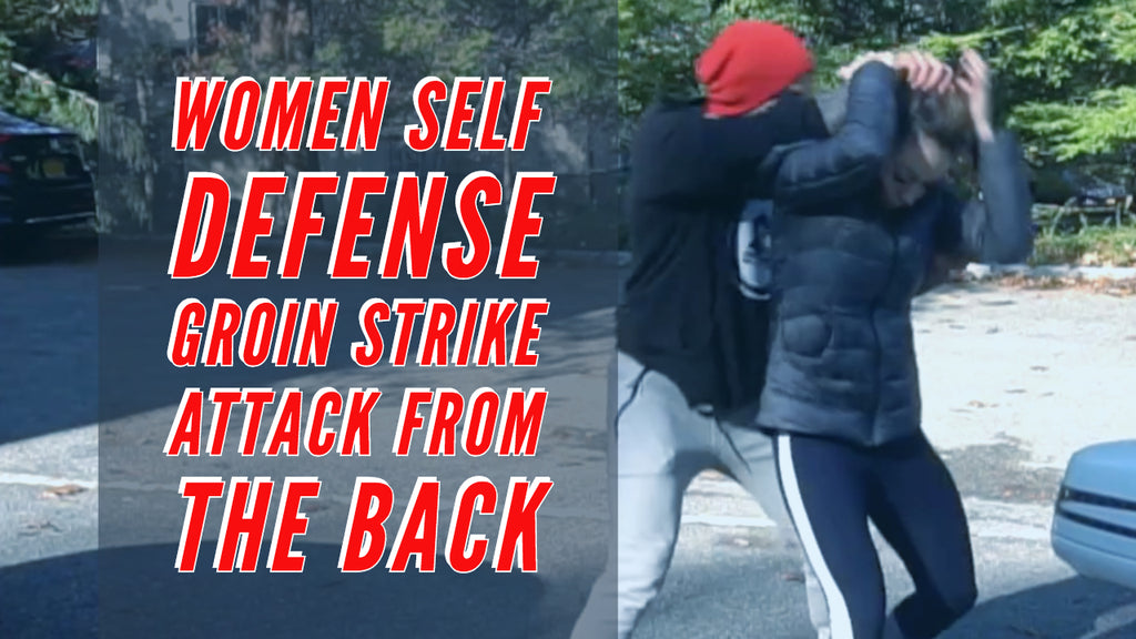 Women self defense groin strike attack from the back.
