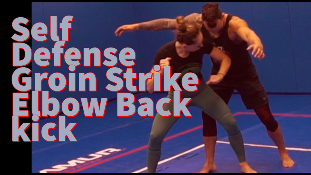 Female groin strike elbow back kick combo self defense