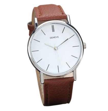 Clara watch with a brown strap