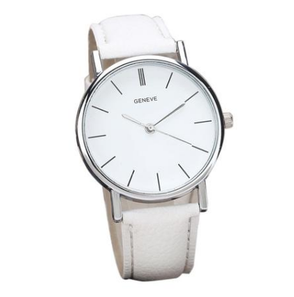 Clara watch with a white strap