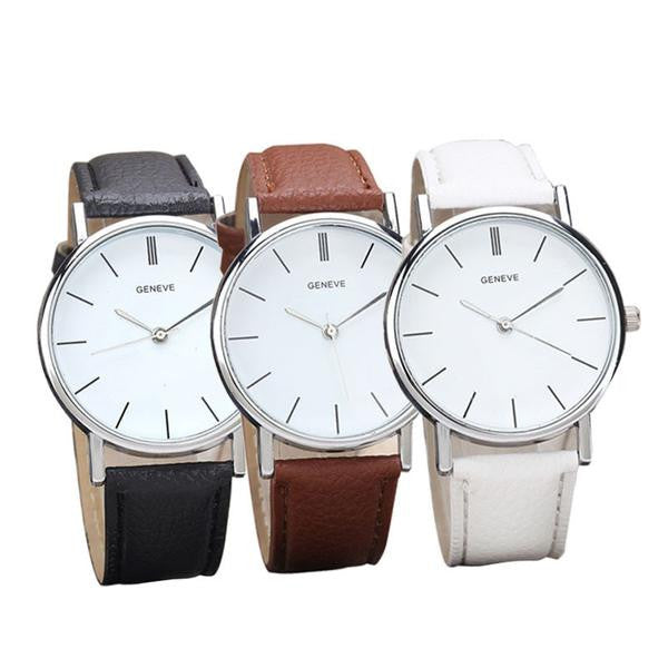 Three Clara watches in different strap colors