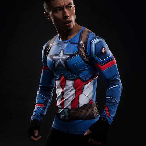 Captain America Shield Longsleeve Compression Shirt