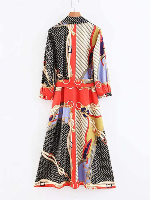 Equestrian Print Button Through Self Tie Shirt Dress