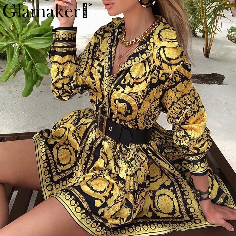 Glamaker Sexy Paisley Vintage Print Gold Dress Women Holiday Beach Short Dress Summer Elegant  Party Club Dress Large Size Robe