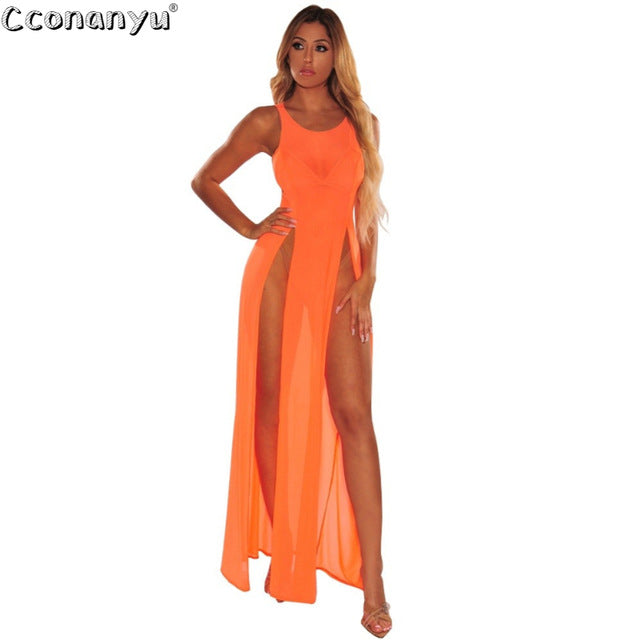 Summer Beach Dresses Women 2019 Mesh Dress Sexy Swimsuit Cover Up Dress O-Neck Sleeveless Long Lady Beachwear Women Beach Bikini