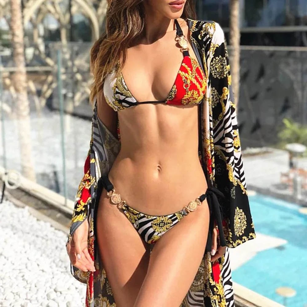 Sexy Metal jewelry Triangle Bikini badge Swimwear 2019 Women Bandage Push Up Swimsuit Maillot De Bain Bathing Suit Biquini