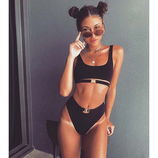 2018 Sexy Bikini Swimwear Women Swimsuit Brazilian Bikini Set Green Print Halter Top Beach Wear Bathing Suits S-xl