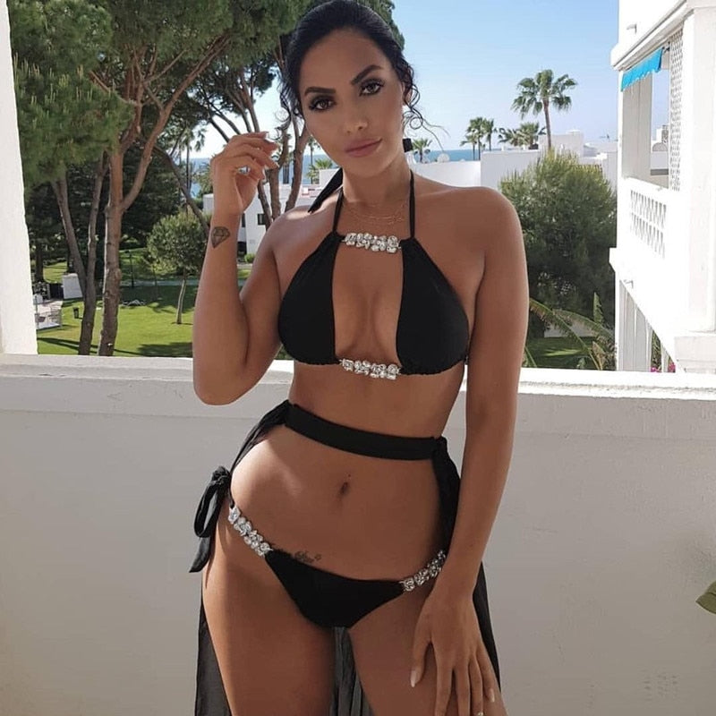 Bikini Sport Swimwear Women 2018 Sequin Rhinestone Crystal Diamond Thong Bikini Set Brazilian Summer Swimsuit Bathing Suit