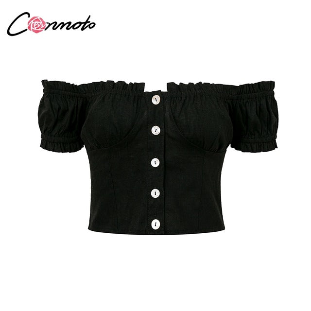 Conmoto 2019 Summer Sexy Off Shoulder Women Crop Tops and Blouse Casual Ruffle White Cotton Shirt Holiday Beach Short Blouse