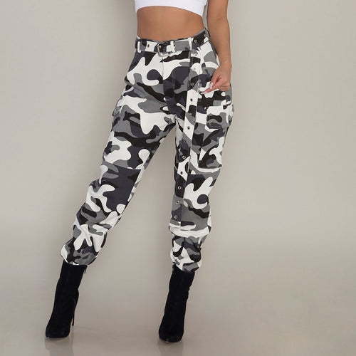 Womens Camo Cargo Trousers Casual Pants Military Army Combat Camouflage Pants  Loose Jogger Trousers Women 2019 Sweatpants