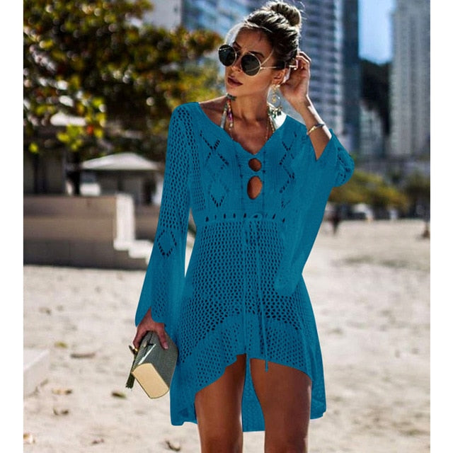 Crochet White Knitted Beach Cover up Tunic