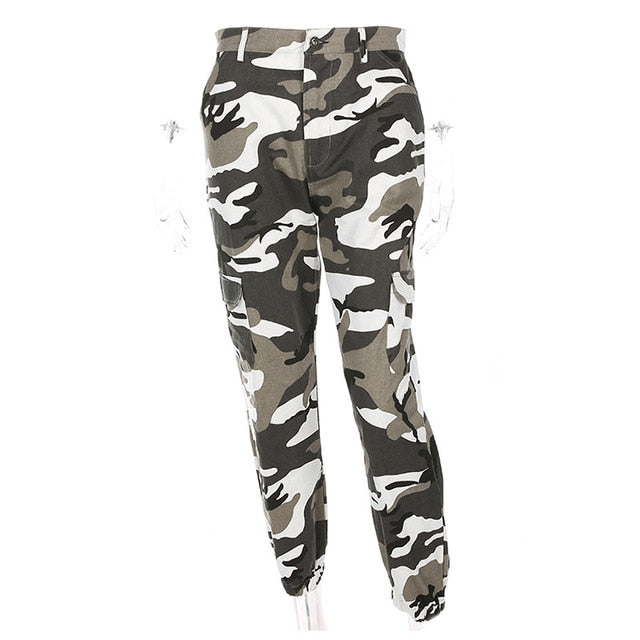 Women High Waist Camouflage Pants Fashion Pantalon Femme Trouser Ankle-Length Sweatpants Cotton Streetwear Camo Pants Femme