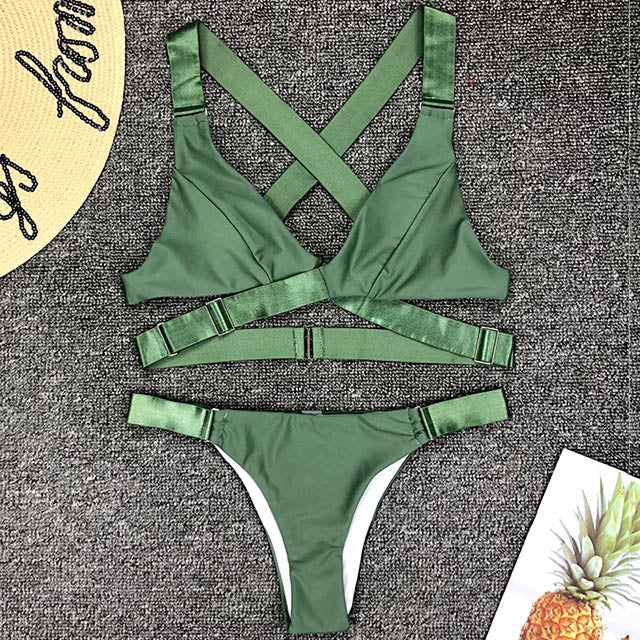 New Sexy Bandeau Bikini 2019 Adjust Buckle Swimsuit Women Bikinis Micro Bikini Set Brazilian Swimwear Female Vevlet Bathing Suit