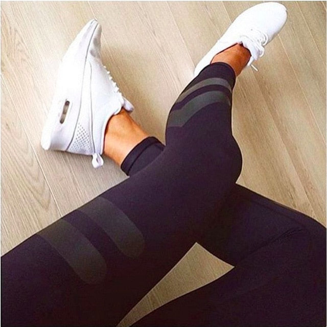 New Women Casual Leggings Fitness Winter Jeggings New Arrival Ladies Elastic Waist Color Pants Block Mesh Insert Leggings
