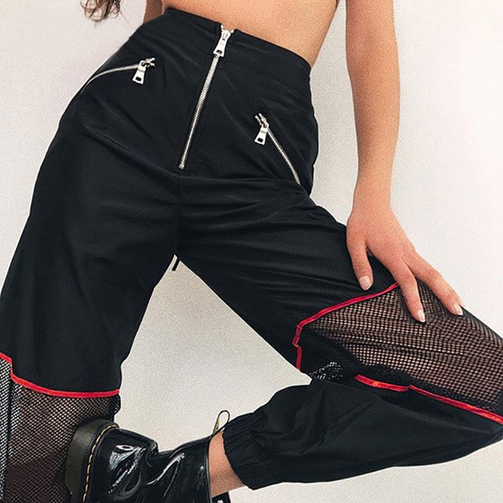 Feitong Streetwear Cargo Pants Women Casual Joggers Black High Waist Loose Female Trousers Women Zipper Trousers #35