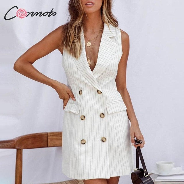Conmoto Fashion Stripe Sleeveless Office Lady Short Dress Women 2019 Autumn Slim Pockets Blazer Dress Button Chic Mini Dress