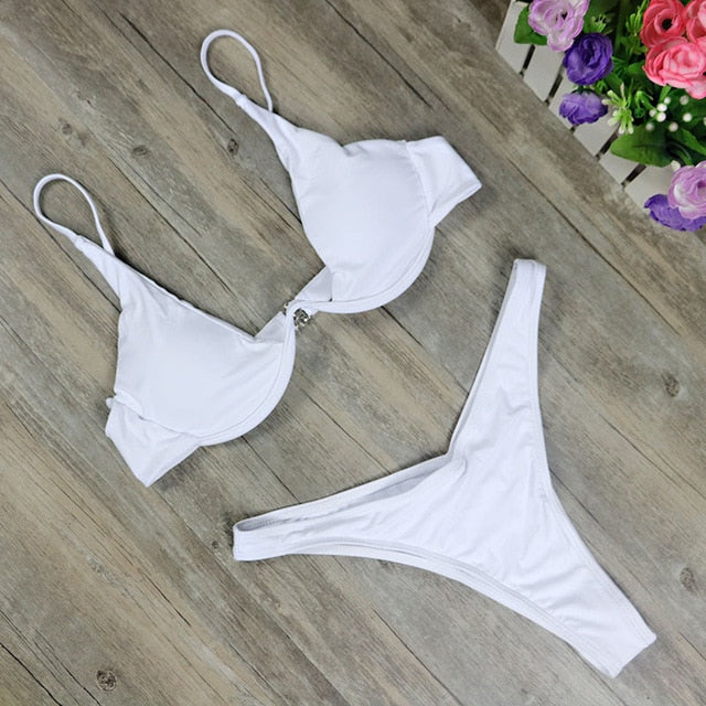 2019 New High Cut Thong Bathing Suit High Waist Swimsuit Solid Swimwear Women Brazilian Biquini Swim Beach Micro Bikini Set