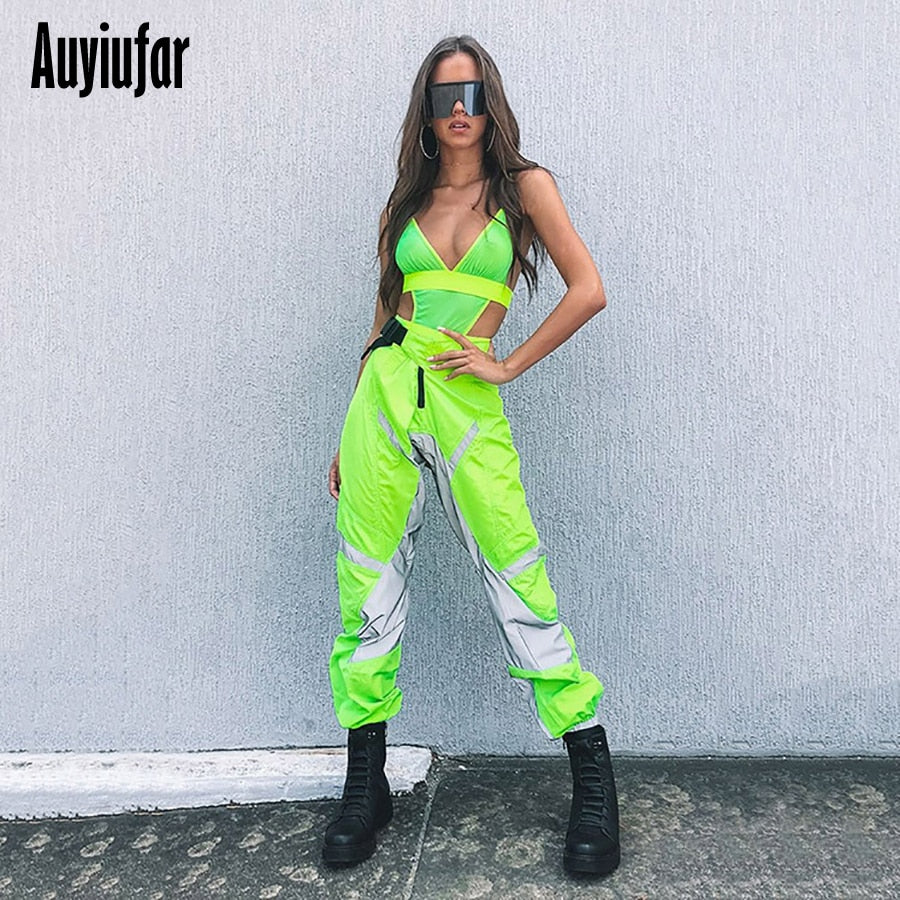 Auyiufar Reflective Cargo Pants Joggers Women Streetwear Patchwork High Waist Loose Ladies Active Wear Bottom Female Trousers