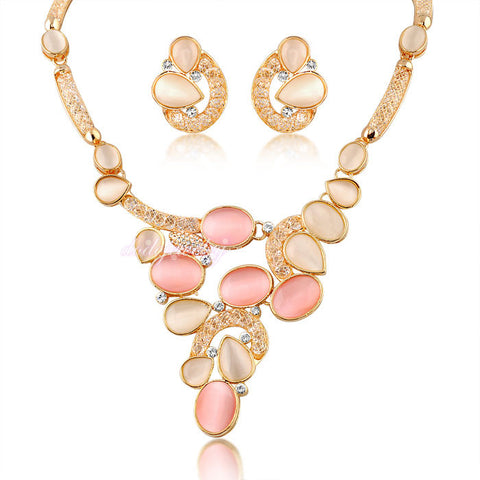 Crystal Mesh Jewelry Set With Stones (Necklace & Earrings) 18k Gold Plated