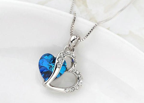 Ocean Blue Crystal Pendant Necklace White Gold Plated