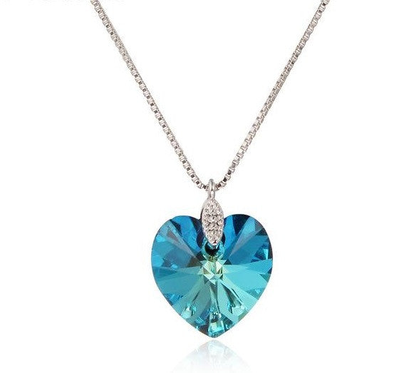 Swarovski Crystal Blue Heart of Ocean Pendant Necklace Platinum Plated fa34a11a89fe