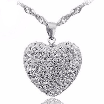 Crystal Heart Necklace 925 Sterling Silver