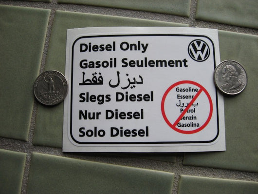 Volkswagen Diesel Only sticker