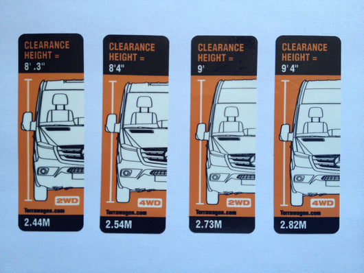 Terrawagen Sprinter height warning stickers