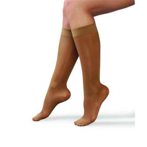 Ladies Tan Compression Knee Highs Large (fits shoe size 5.5-7.5) 15-20 mmHg