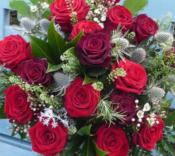 Romantic Bouquet of 10 Best Roses with Black Baccara Roses and mixed foliage