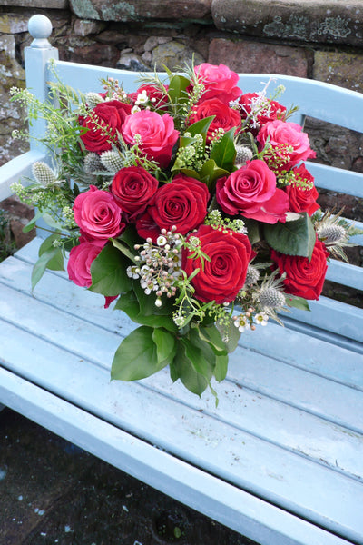 Romantic Bouquet of One Dozen Best Red and with 6 Pink Roses