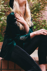 Take me to Breakfast Velvet Jacket - Forest Green