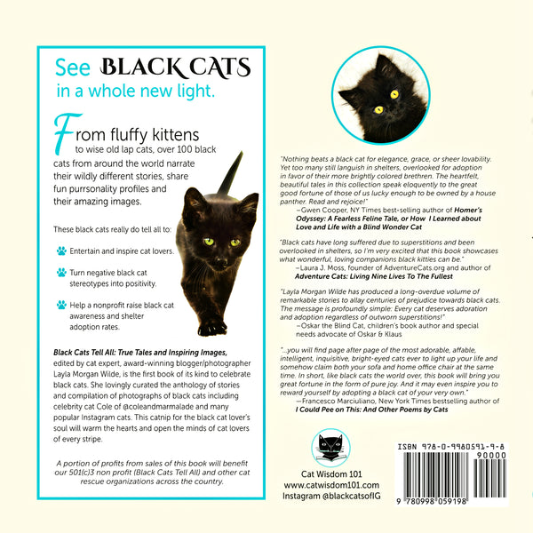 Summer Sale: Black Cats Tell All: True Tales And Inspiring Images FREE U.S. Shipping - Black Cats Tell All