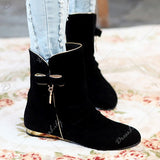 Ruched Flat Heel Mid Calf Boots - e Deals and Offers