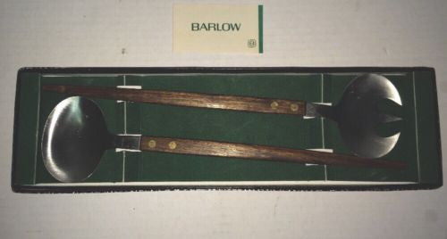 Mid Century Barlow Wood Handle Salad Servers Fork Spoon Orig Box Killbuck Saving