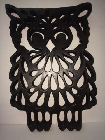 "MCM Vintage Retro 15"" Wooden Fretwork Owl Wall Piece Decor"