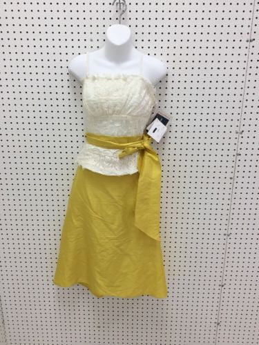 Vintage NWT Watters & Watters Yellow Silk Skirt And White Lace Top Size 10