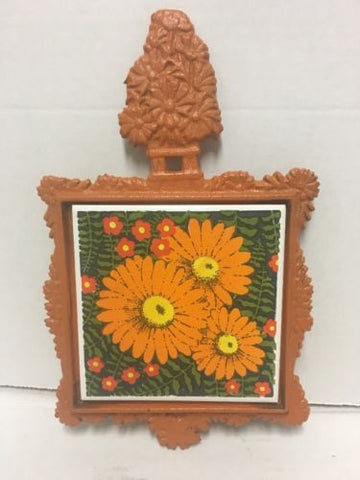 Vintage 1970s Cast Iron/Ceramic Trivet ORANGE DAISY