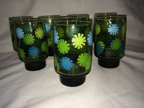 "8 Mid Century Funky Libbey Green Glass 5"" Tumblers Daisy Flowers Blues Greens"