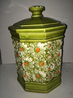 Retro Mid Century Green Daisy Cookie Jar Canister T-1861