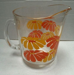 Mid Century Retro Funky Orange & Yellow Daisy Glass Pitcher