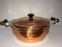 Vintage 1.5 Qt Pyrex Casserole In Lidded Coppercraft Guild Holder Bakelite Handl